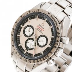Omega Cream Stainless Steel Speedmaster Legend Michael Schumacher Men's Wristwatch 42 mm