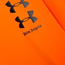 Palm Angels X Under Armour Orange Logo Print Neoprene Hoodie M