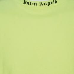 Palm Angels Neon Yellow Logo Print Cotton Long Sleeve T-Shirt M