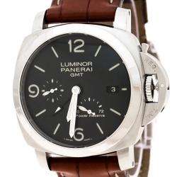 Panerai Black Stainless Steel Luminor 1950 GMT PAM00321 Men's Wristwatch 44 mm