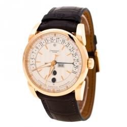 Parmigiani Fleurier Silver 18K Rose Gold Tonda Centum Men's Wristwatch 42 mm