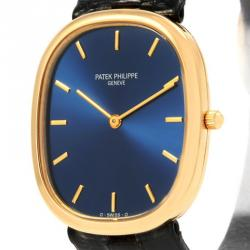 f45c3b339 Patek Philippe Blue 18K Yellow Gold Golden Ellipse Men's Wristwatch 31MM