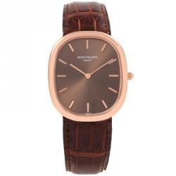 1555d7c06 Patek Philippe Brown 18K Rose Gold Golden Ellipse Men's Wristwatch 35.6MM