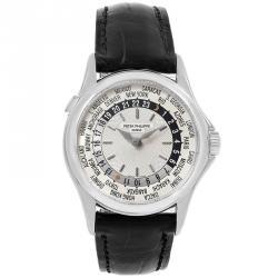 Patek Philippe Silver 18K White Gold World Time Men's Wristwatch 37MM