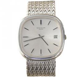 Patek Philippe Silver 18K White Gold Men's Wristwatch 35.5MM