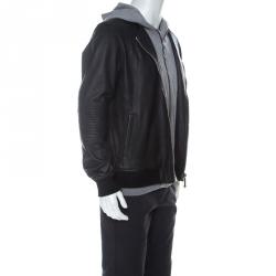 Philipp Plein Black & Grey Leather & Jersey Hooded Jacket XL