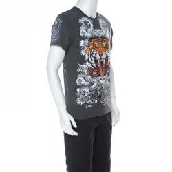Phillip Plein Charcoal Grey Jersey Crystal Embellished Philipp Tiger T-Shirt S
