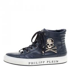 Philipp Plein Navy Blue Leather Flight High Top Sneakers Size 43