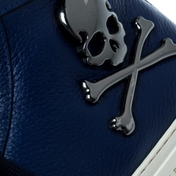 Philipp Plein Blue Leather Skull High Top Sneakers Size 40