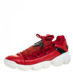 Philipp Plein Red Leather And Stretch Fabric Low Top Sneakers Size 40