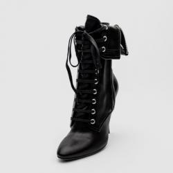 Giuseppe Zanotti For Pierre Balmain Black Leather Lace-Up Folded Boots Size 37