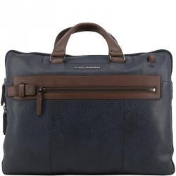 Piquadro Two Tone Leather Briefcase