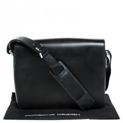 Porche Design Black Leather Messenger Bag