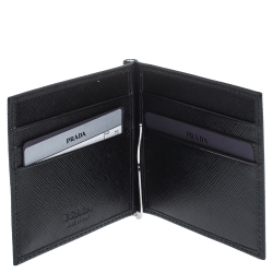 Prada Black Saffiano Lux Leather Money Clip Wallet