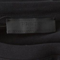Prada Black Cotton Logo Pocket Detail Crew Neck T-Shirt M