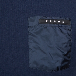 Prada Navy Blue Cotton Logo Pocket Detail Crew Neck T-Shirt M