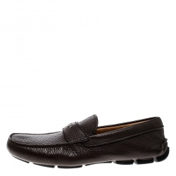 Prada Brown Leather Loafers Size 42