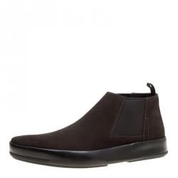Prada Dark Brown Suede Chelsea Boots Size 40.5 00eb4861cc9