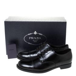 Prada Black Leather Oxfords Size 41.5