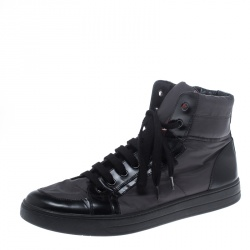 Prada Grey/Black Nylon and Leather High Top Lace Up Sneakers Size 44
