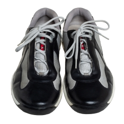Prada Sport Grey/ Black Mesh And Leather Low-Top Sneakers Size 44