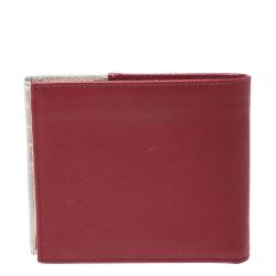Prada Red/White Saffiano Leather Bifold Wallet