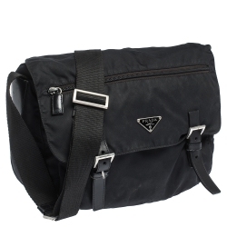 Prada Black Nylon and Leather Messenger Bag