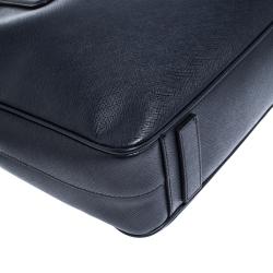 Prada Navy Blue Saffiano Lux Leather Briefcase