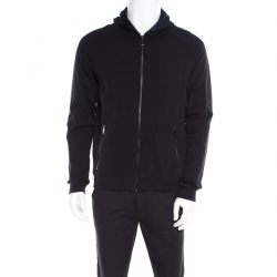 0c466826d54c Prada Navy Blue Cotton Jersey Zip Front Felpa Blouson Hoodie L
