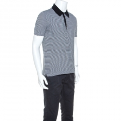 Prada Black & White Cotton Striped Polo T-Shirt M