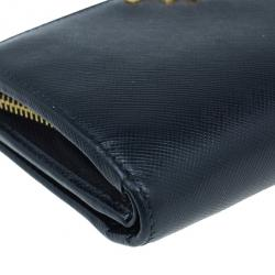 Prada Black Saffiano Leather Compact Lampo Wallet