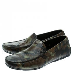 Prada Green Camouflage Print Saffiano Leather Loafers Size 41