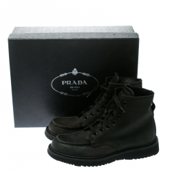 Prada Black Leather High Top Combat Boots Size 41.5
