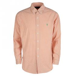 1512f715e قميص رالف لورين أزرار أمامية أكمام طويلة قطن كاروهات أبيض وبرتقالي L
