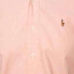 Ralph Lauren Pink Cotton Button Front Custom Fit Shirt S