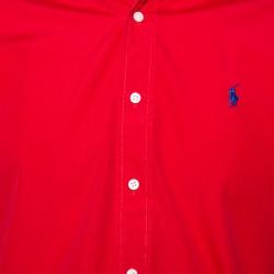 قميص رالف لورين قصه كلاسيكية أزرار أمامية قطن أحمر مقاس صغير (سمول)