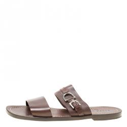 afca4ab1c79 Ralph Lauren Brown Leather Buckle Detail Slides Size 42 · Ralph Lauren.  Sandals