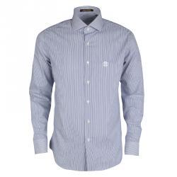 642ee55a9fdc0 قميص روبرتو كافالي قصة مكسمة أكمام طويلة قطن مخطط أبيض وكحلي 4XL