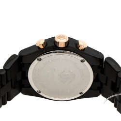 Roberto Cavalli Black PVD Coated Stainless Steel Diamond Time R7253616045 Chronograph Men's Wristwatch 41 mm