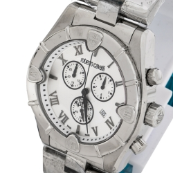 Roberto Cavalli Silver Stainless Steel Diamond Time R7253616015 Chronograph Men's Wristwatch 45.50 mm