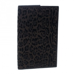 Roberto Cavalli Brown Leopard Print Canvas and Leather Card Case