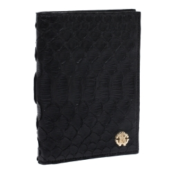 Roberto Cavalli Black Python Leather Bifold Wallet