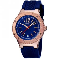 Rochas Blue Rose Gold Plated Stainless Steel RP1G002P0011 Men's Wristwatch 42MM