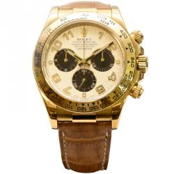 Rolex White 18K Yellow Gold Cosmograph Daytona Men's Wristwatch 40MM