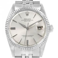 Rolex Silver 18K White Gold and Stainless Steel Datejust Vintage 1601 Men's Wristwatch 36MM