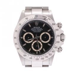 Rolex Black Stainless Steel Cosmograph Daytona 16520 Men's Wristwatch 38MM