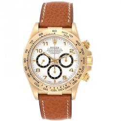 Rolex White 18K Yellow Gold Daytona Chronograph 16518 Men's Wristwatch 40 MM
