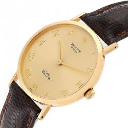 Rolex Champagne 18K Yellow Gold and Leather Cellini 4112 Men's Wristwatch 30.5MM