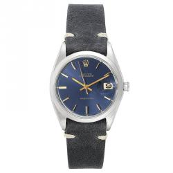 Rolex Blue Leather and Stainless Steel OysterDate Precision 6694 Men's Wristwatch 35MM