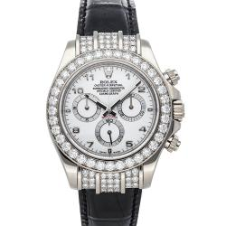 Rolex White Diamonds 18K White Gold Daytona 116599RBR Men's Wristwatch 40 MM